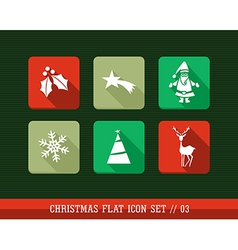 Merry Christmas colorful web apps flat icons set vector