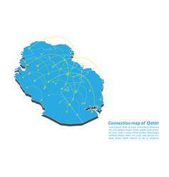 Modern of qatar map connections network design vector