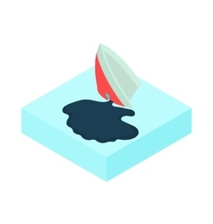 Oil tanker accident with an oil slick icon vector