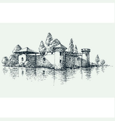 old castle front view artistic hand drawing vector image