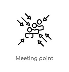 Outline meeting point icon isolated black simple vector