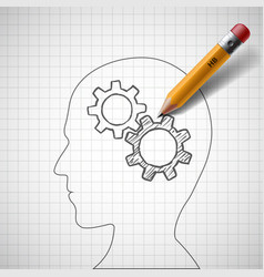 Pencil draws gears in human head vector