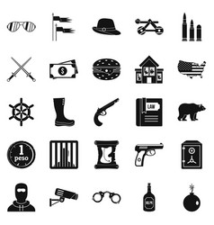 Pistol icons set simple style vector