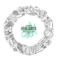 poster template frame with hand drawn vegetables vector image