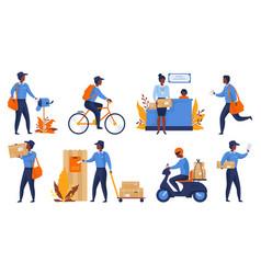 postman cartoon delivery worker character vector image