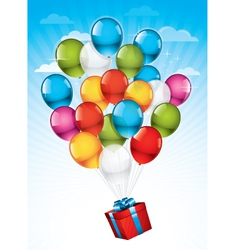 present and balloons vector image