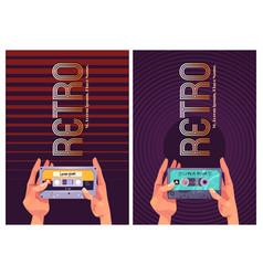 retro dance music style 80s banner vector image