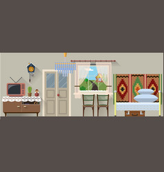 Retro interior in flat vector