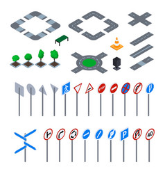 road sign 3d icon set isometric view vector image