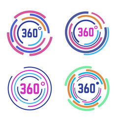 Round 360 degrees signs circle diagram 360 vector