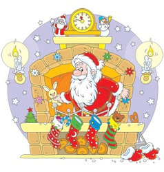 Santa in the fireplace vector image