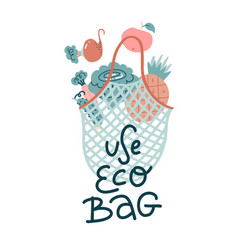scandinavian with lettering text eco bag vector image