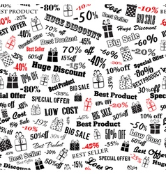 Seamless pattern on discounts and special offers vector