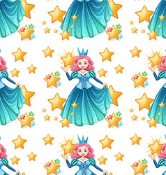 Seamless queen in blue dress and stars vector image