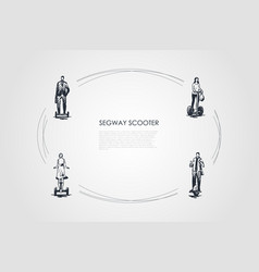 segway scooters - businessman girls and man vector image
