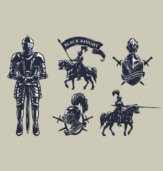 set medieval knights mounted knights vector image