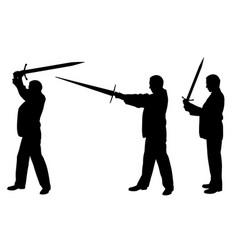 set of men with swords vector image