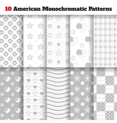 Set of monochromatic American seamless patterns vector image