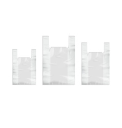 Set of White Disposable Plastic Shopping Bags vector image
