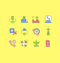 Set simple line icons communication service vector