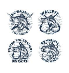 set walleye fishing logo club tournament big vector image
