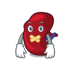 Silent spleen mascot cartoon style vector