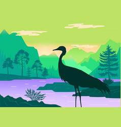 silhouette standing heron beautiful vector image
