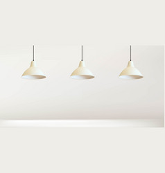 Simple three lamp with white wall vector