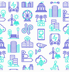 smart city seamless pattern with thin line icons vector image