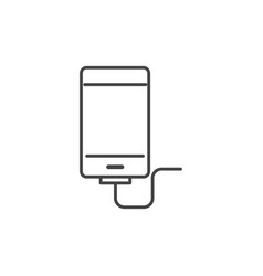 Smartphone charge cable technology icon line vector