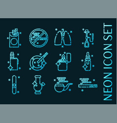smoking set icons blue glowing neon style vector image