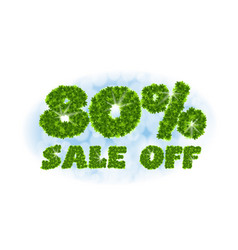 Spring sale 80 percent off letters and figures vector