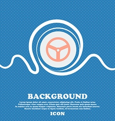 Steering wheel icon sign Blue and white abstract vector image