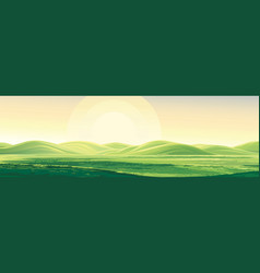 Summer rural landscape dawn above hills elongated vector