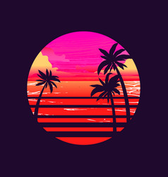 sun with sunset ocean and palm trees 1980s vector image