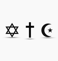 Symbols of the three world religions - judaism vector