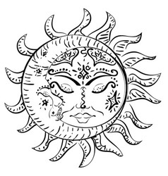 Tattoo sleeping sun and moon vector