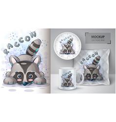 Teddy raccoon poster and merchandising vector