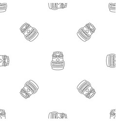 Tiki idol mask pattern seamless vector