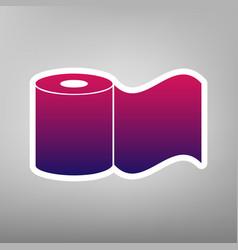 Toilet paper sign purple gradient icon on vector