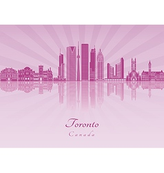 Toronto V2 skyline in purple radiant orchid vector