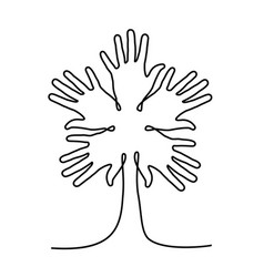 Tree made of human hand for community help vector