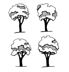 Trees for a landscape design different hand drawn vector