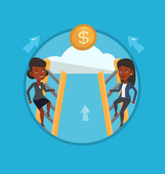 two business women competing for the money vector image