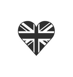 United kingdom flag icon in a heart shape in vector