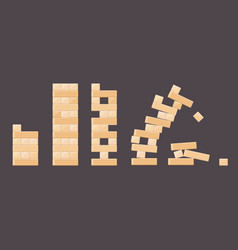Wood bricks details from tower games for kids vector