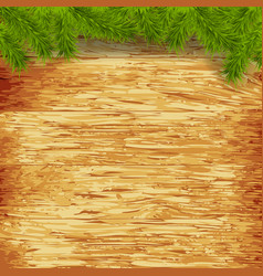 wooden background with christmas fir tree image vector image