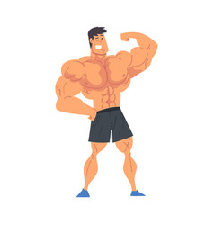 young muscular shirtless man strong bodybuilder vector image
