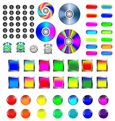 2 Assorted icons and buttons vector image vector image