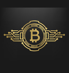 bitcoin abstract golden symbol of internet money vector image